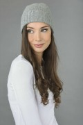 Pure Cashmere Plain and Ribbed Knitted Beanie Hat in Light Grey 2