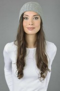 Pure Cashmere Plain and Ribbed Knitted Beanie Hat in Light Grey 3