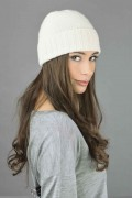 Pure Cashmere Plain and Ribbed Knitted Beanie Hat in Cream White 3