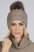Camel Brown pure cashmere fur pom pom cable knit beanie hat front