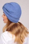 Cashmere turban in periwinkle blue 2