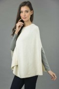 Pure Cashmere Plain Knitted Poncho Cape in Cream White 2