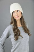 Pure Cashmere Plain Knitted Slouch Beanie Hat in Cream White 1