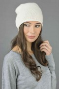 Pure Cashmere Plain Knitted Slouch Beanie Hat in Cream White 3