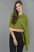 Knitted Pure Cashmere Wrap in Olive Green 1