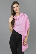 Knitted Pure Cashmere Wrap in Ultra Pink 1