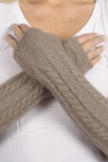 Camel Brown cashmere cable knit wrist warmers gloves 3