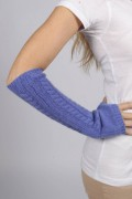 Periwinkle blue pure cashmere cable knit wrist warmers gloves 2