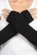 Black pure cashmere fingerless long wrist warmer gloves 3