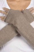 Camel Brown pure cashmere fingerless long wrist warmer gloves 3