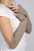 Camel Brown pure cashmere fingerless long wrist warmer gloves 2