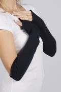 Navy Blue pure cashmere fingerless long wrist warmer gloves 2