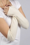 Cream White pure cashmere fingerless long wrist warmer gloves 2