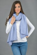 Pure Cashmere Wrap in Light Blue 2