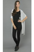 Knitted Pure Cashmere Wrap in Ice blue full 1