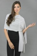 Knitted Pure Cashmere Wrap in Ice blue front 1