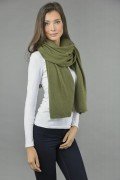 Knitted Pure Cashmere Wrap in Loden Green 1