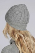 Light grey cashmere beanie hat cable and rib knit back