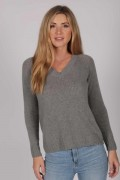 Womens Light Grey V-Neck Cashmere Sweater front