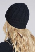 Navy blue cashmere beanie hat cable and rib knit 3