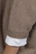 Camel brown beige pure cashmere duster cardigan close-up