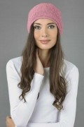 Pure Cashmere Ribbed Knitted Slouchy Beanie Hat in Antique Pink 03