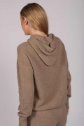 Camel Brown 100% Cashmere Hoodie for Women back
