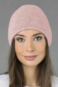 Pure Cashmere Plain Knitted Slouchy Beanie Hat in Baby Pink 03