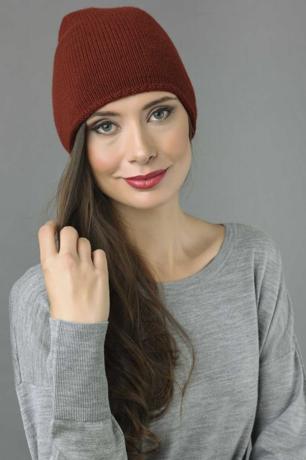 44062484133 ... Pure Cashmere Plain Knitted Slouch Beanie Hat in Bordeaux 1 ...