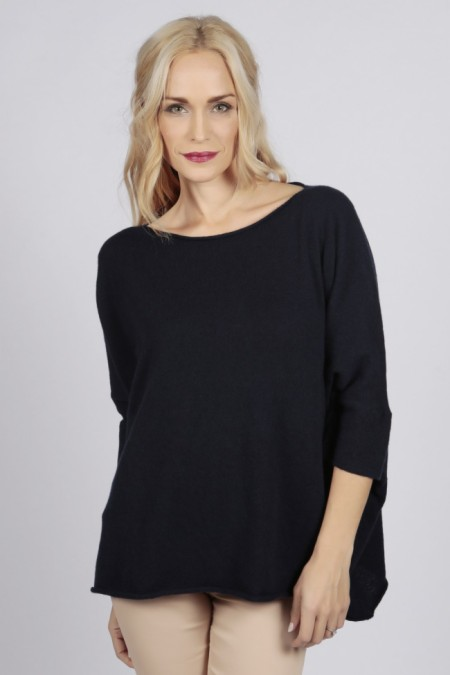 Navy Blue pure cashmere short sleeve oversized batwing sweater front