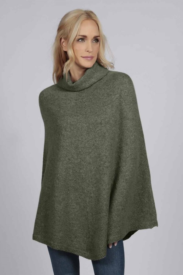 Army green 100% cashmere roll neck poncho front