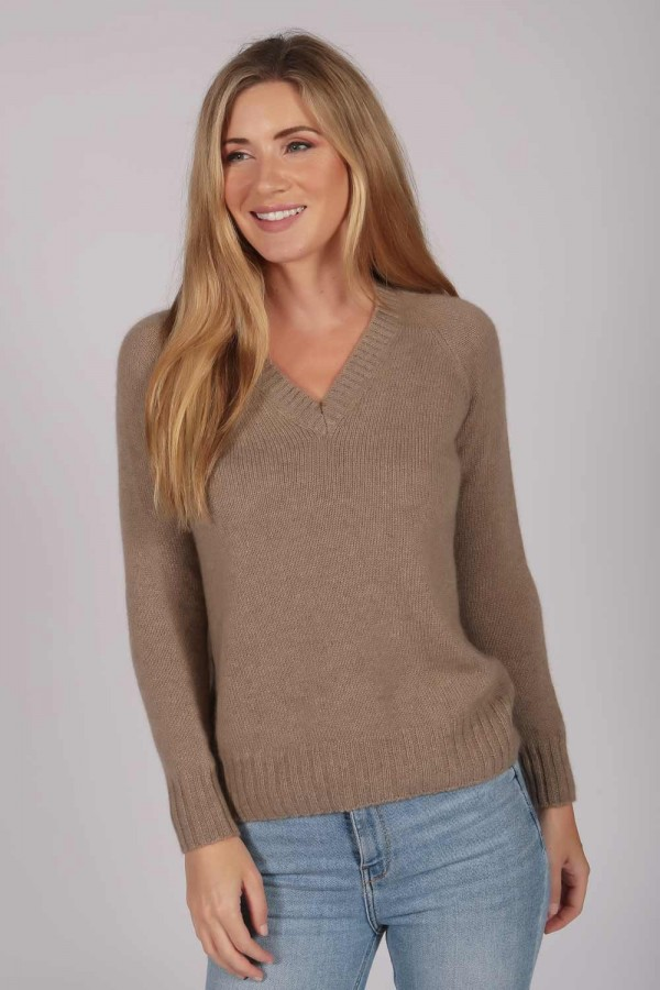 Womens Camel Brown V-Neck Cashmere Sweater front