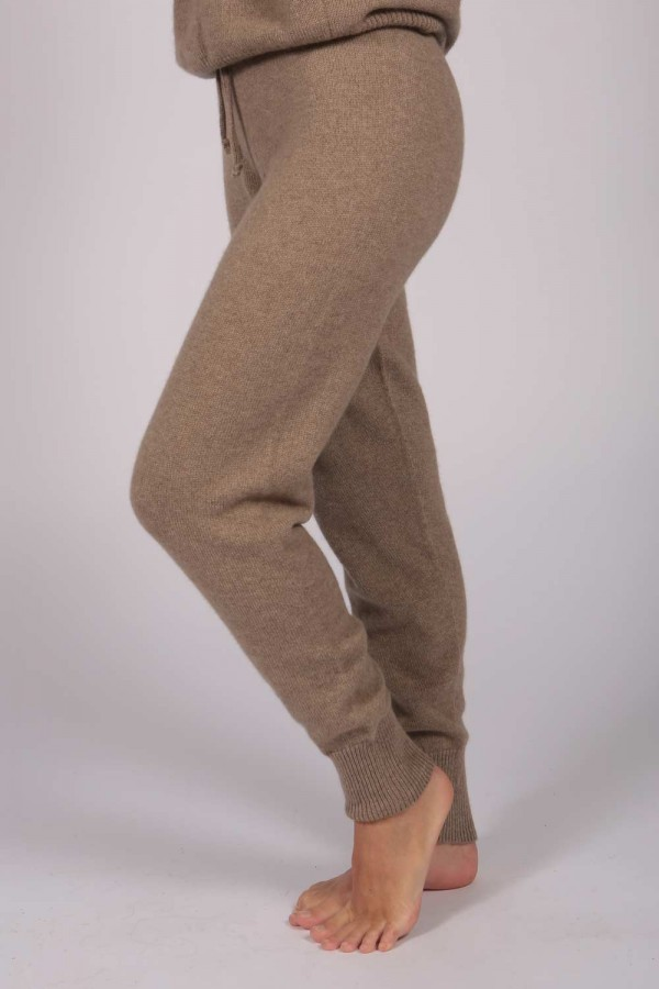 Women's Pure Cashmere Joggers Pants in Camel Brown 1