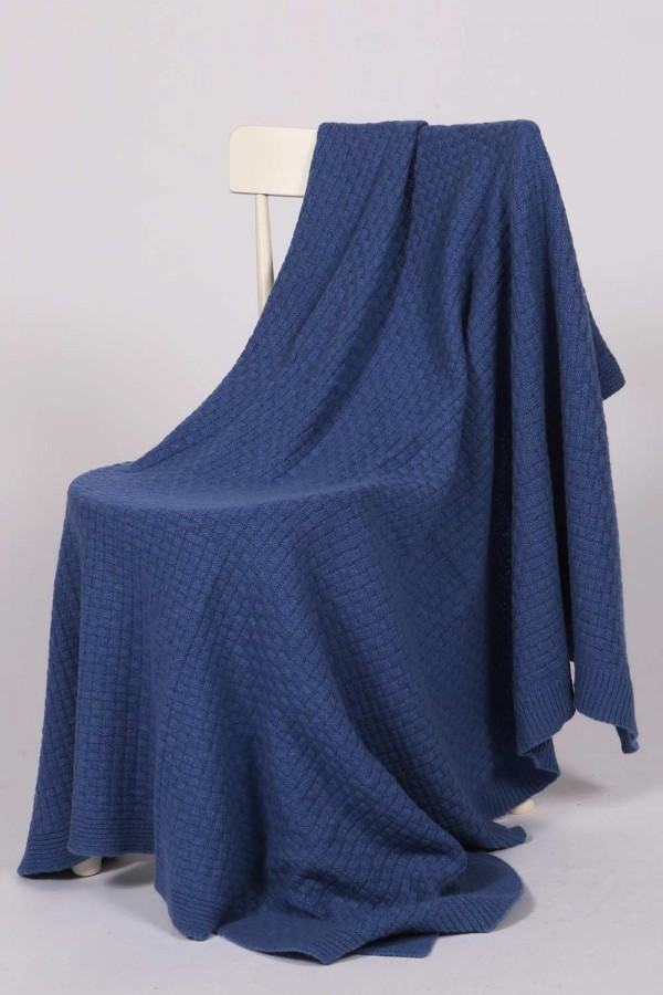 Cashmere blanket throw knitted chequers pattern