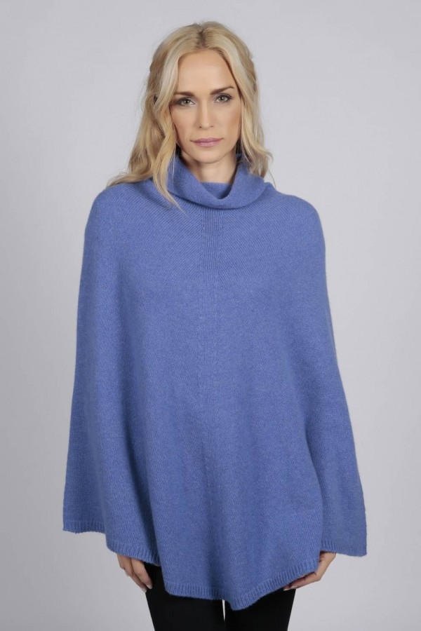 Periwinkle pure cashmere roll neck poncho cape front