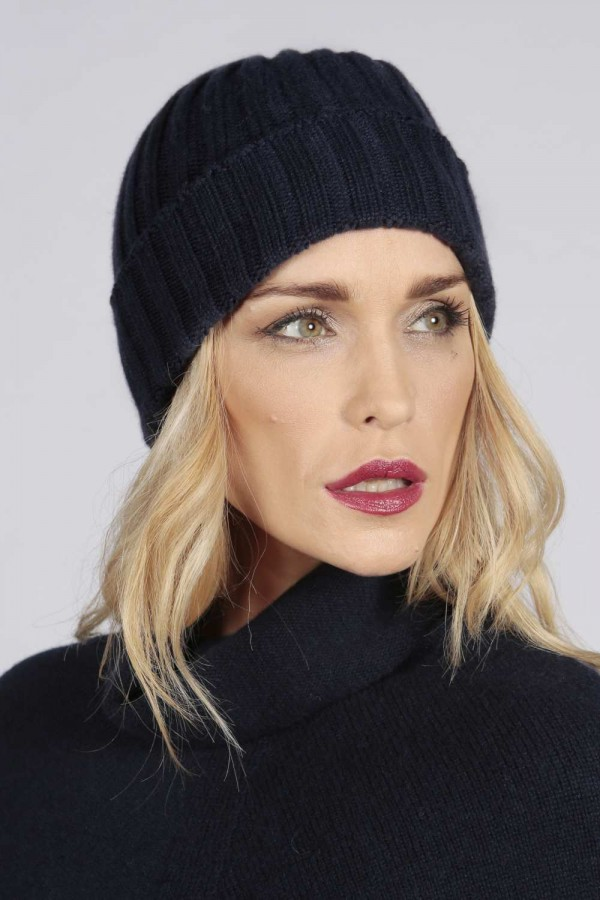 Navy blue pure cashmere wide ribbed fisherman beanie hat