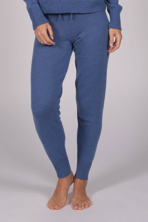 Women's Pure Cashmere Joggers Pants in Periwinkle Blue 1