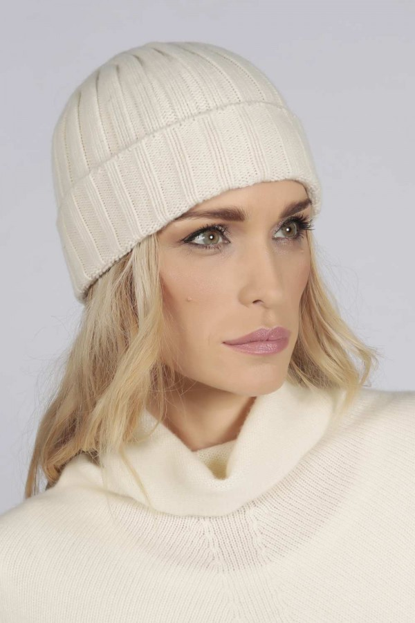 Cream White pure cashmere wide ribbed fisherman beanie hat