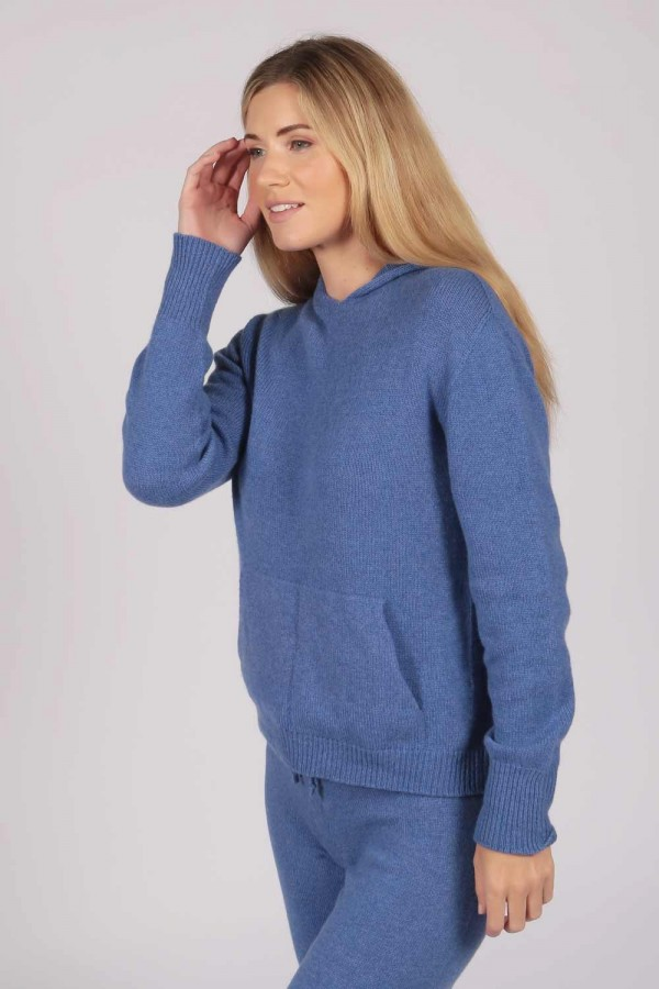 Periwinkle Blue 100% Cashmere Hoodie for Women front