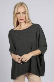 Charcoal Grey pure cashmere short sleeve oversized batwing sweater