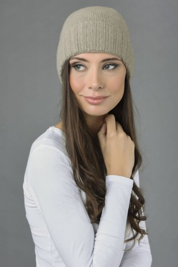Pure Cashmere Plain and Ribbed Knitted Beanie Hat in Camel Brown