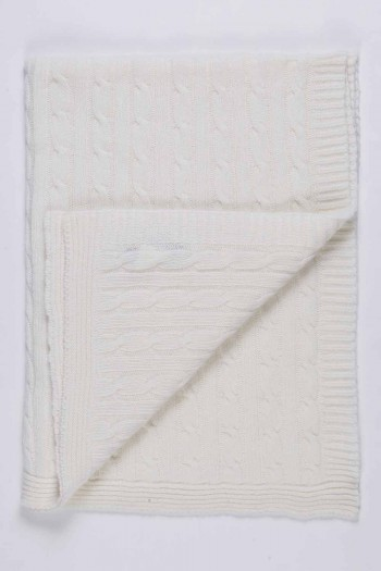 Cream White pure cashmere baby blanket cable knit