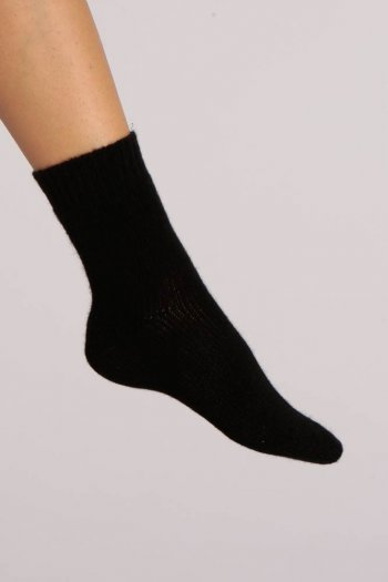 Cashmere Bed Socks in Black Plain Knit