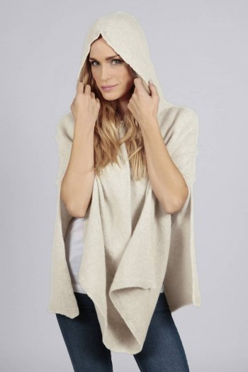 Cream white pure cashmere hooded poncho cape