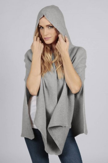 Light grey pure cashmere hooded poncho cape