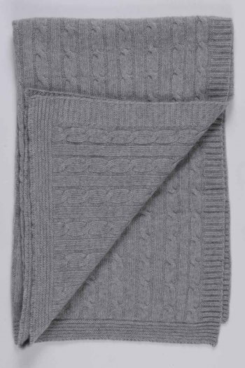 Light grey pure cashmere baby blanket cable knit