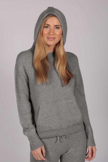 Light Grey 100% Cashmere Hoodie for Women