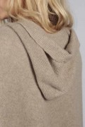 Camel brown beige pure cashmere hooded poncho cape close-up
