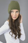 Pure Cashmere Plain Knitted Beanie Hat in Loden Green 3