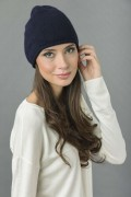 Pure Cashmere Plain Knitted Beanie Hat in Navy Blue 3